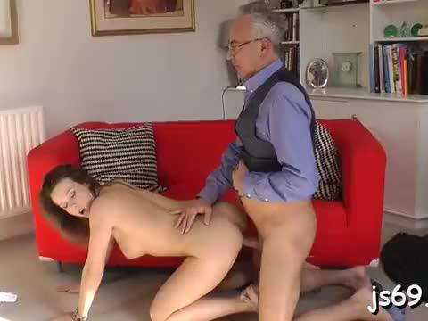 Whorish playgirl slobbering all over her daddy's hard overweight cock